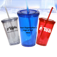 16 oz. BPA- Free Double Insulated Tumbler w/ Straw